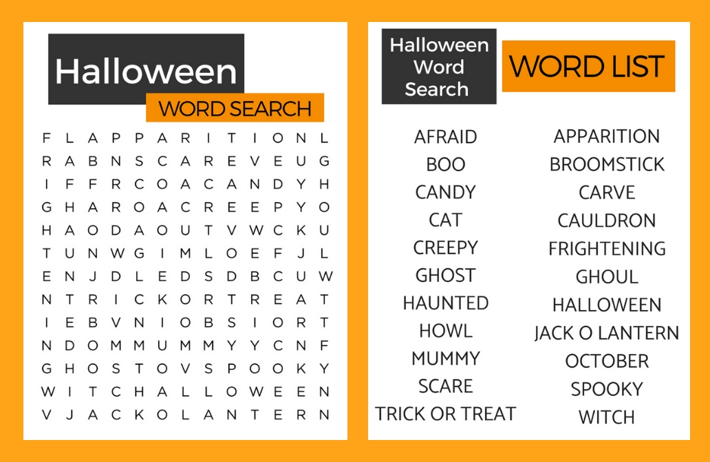 Halloween Word Search. Perfect for seniors! Alzheimer's and Dementia friendly!