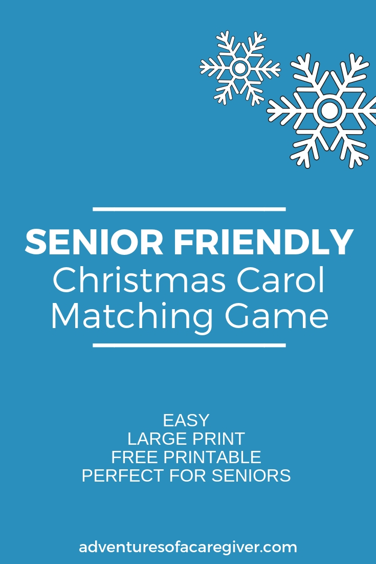Alzheimer's and senior friendly Christmas Carol Matching Game with free printable!