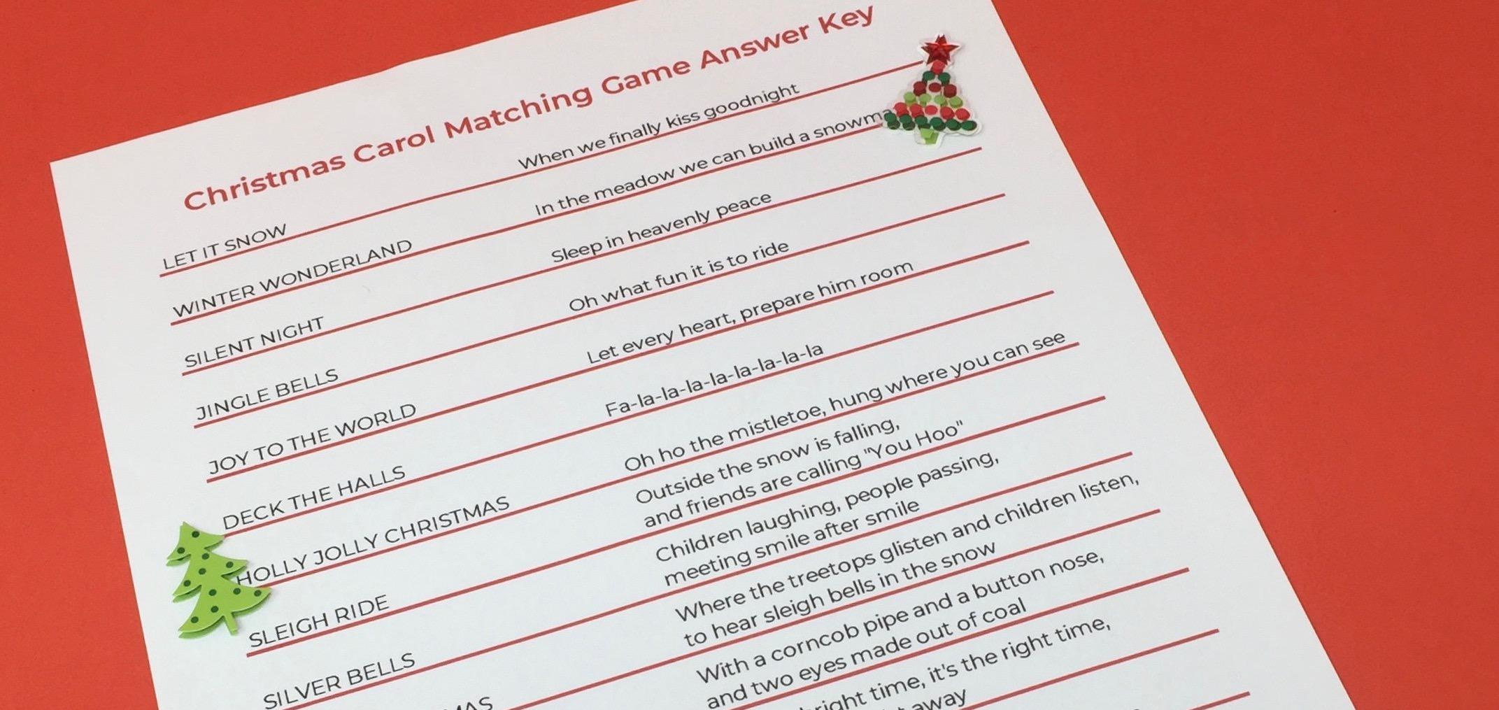 Christmas Carol Matching Game PDF Answer Key for Seniors