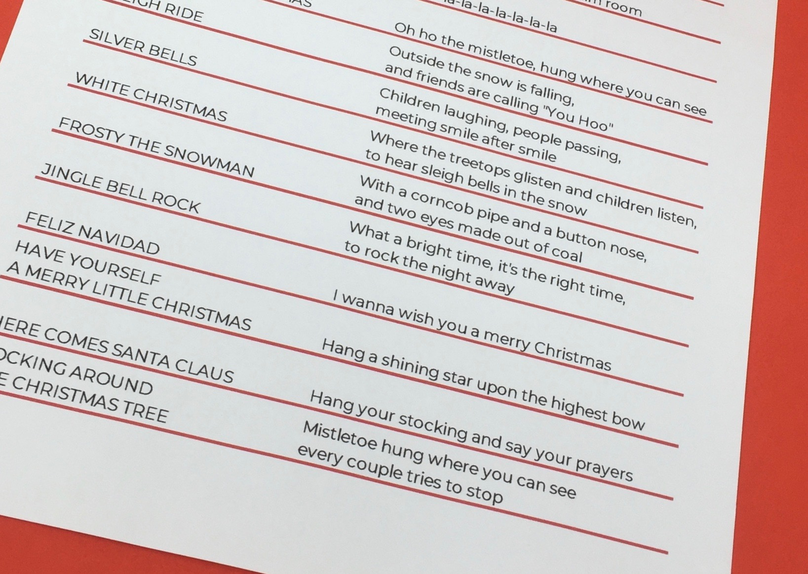 Christmas Carol Matching Game Song List for Seniors