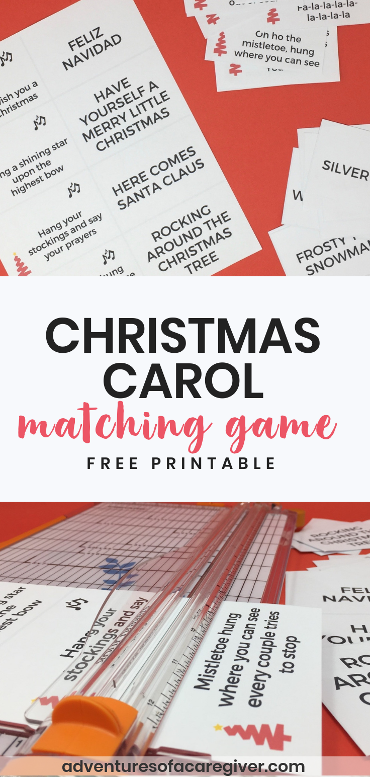 Free printable Christmas Carol Matching Game created with seniors with Alzheimer's or dementia in mind.