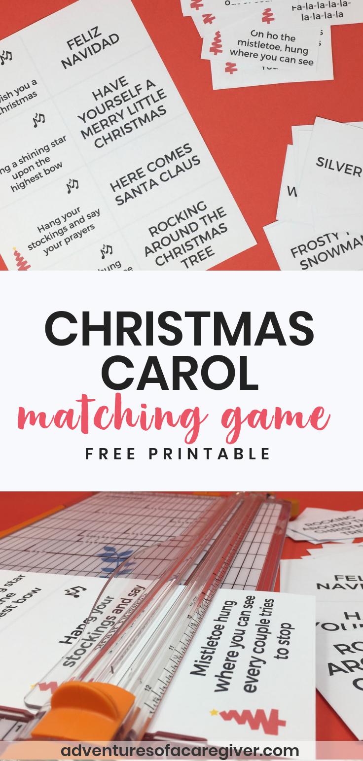 photo regarding Christmas Carol Game Printable referred to as Xmas Carol Matching Recreation Printable for Seniors