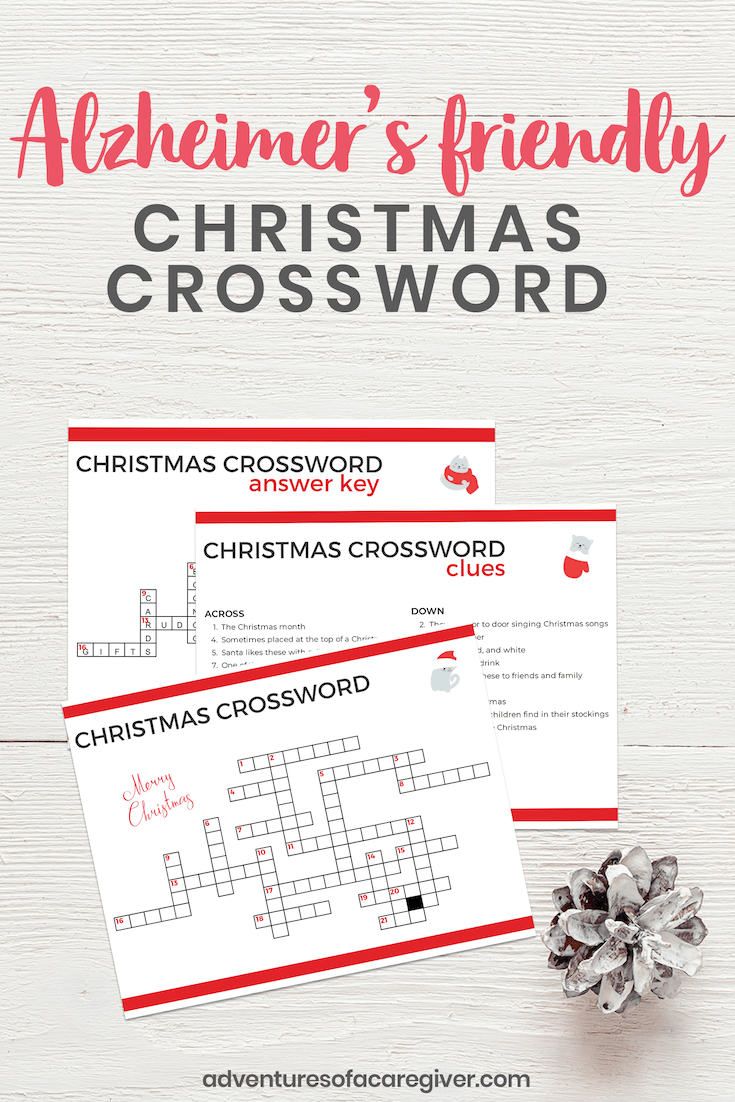 Alzheimer's Christmas crossword activity with large print for seniors.