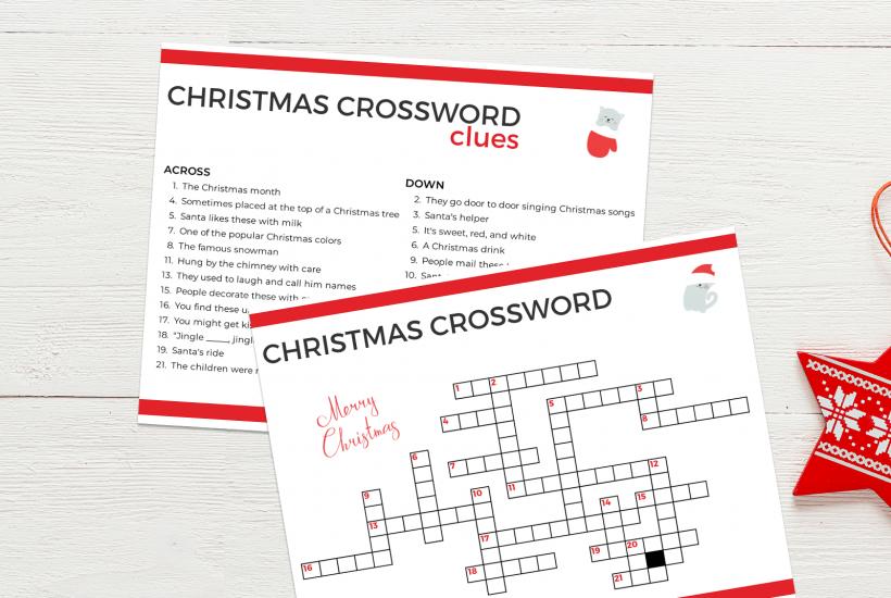 Alzheimer's friendly Christmas Crossword