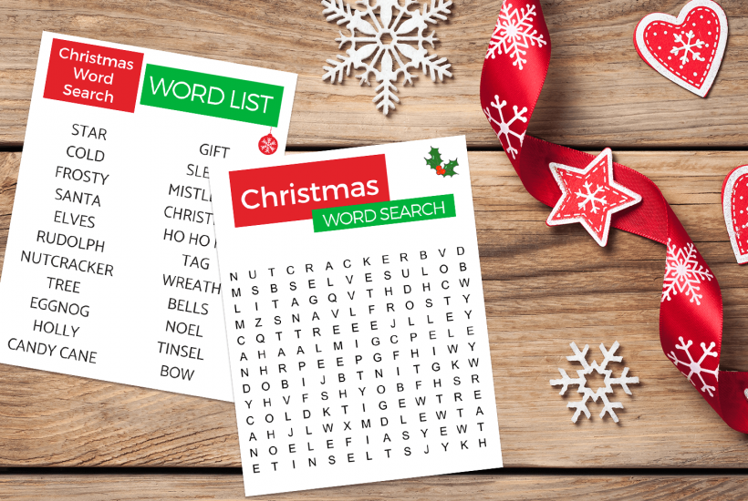Easy, large print Christmas Word Search perfect for seniors with Alzheimer's or dementia.