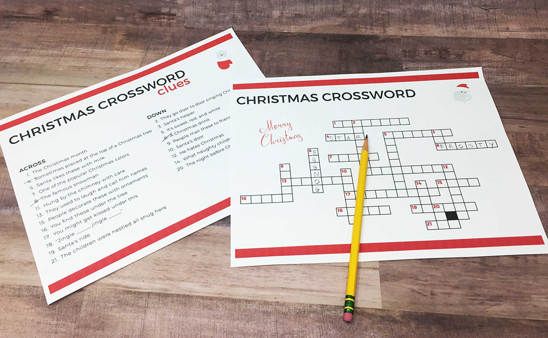 Easy Christmas crossword puzzle with large print. Created for dementia patients.