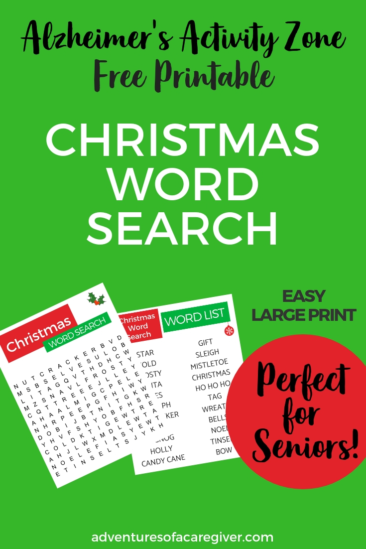 Christmas Word Search printable with large print and easy to find words! Created especially for Alzheimer's and dementia patients!