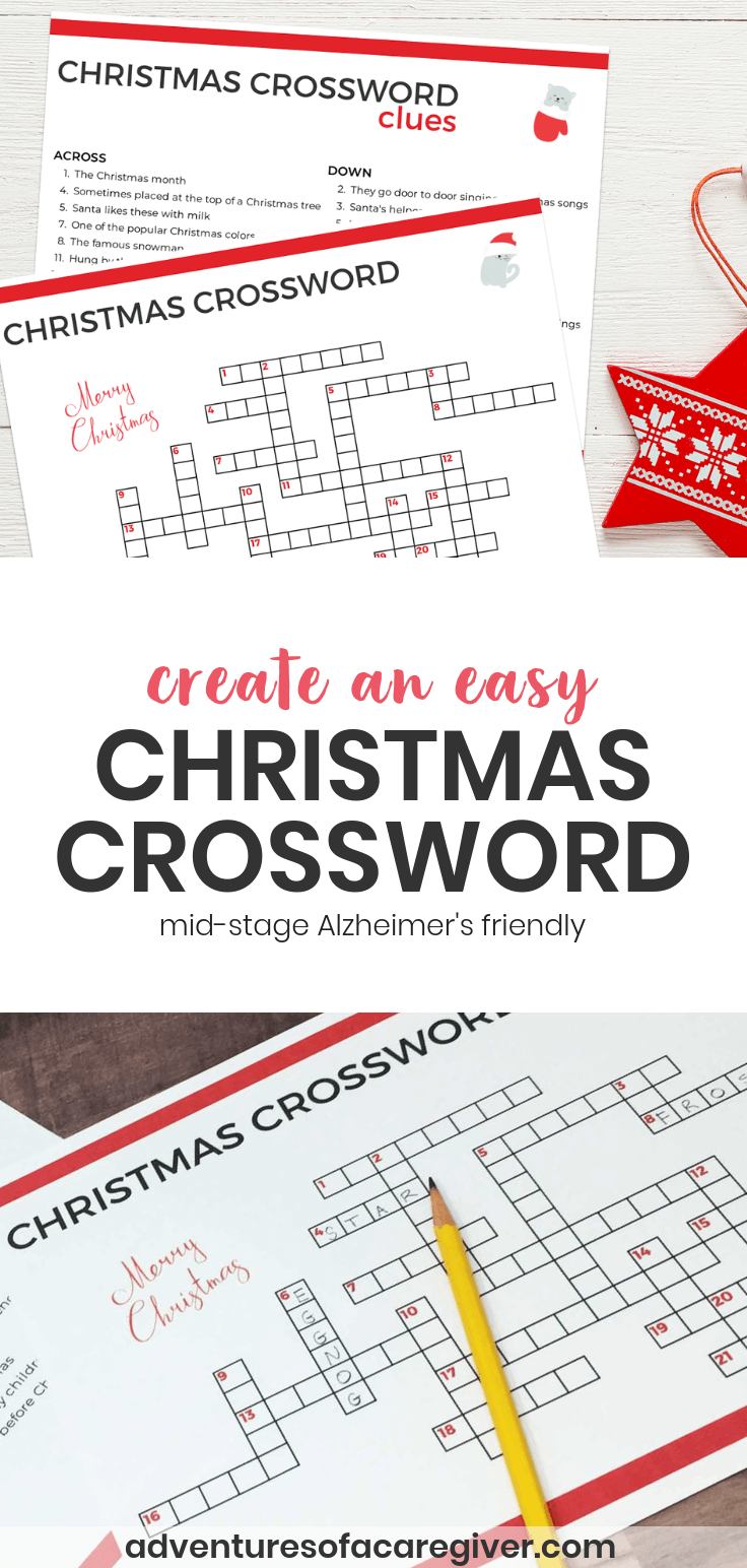 Create an easy Christmas crossword puzzle for Alzheimer's and dementia patients