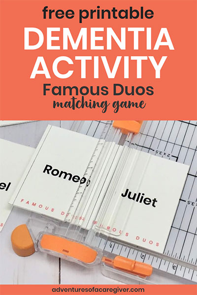 Senior friendly Famous Duos game created especially for Alzheimer's and dementia patients. Free printable game cards. #alzheimers #dementia