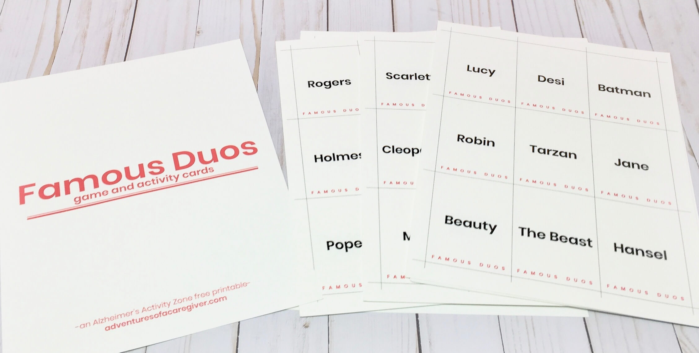 Famous Duos game and activity cards created for Alzheimer's and dementia patients