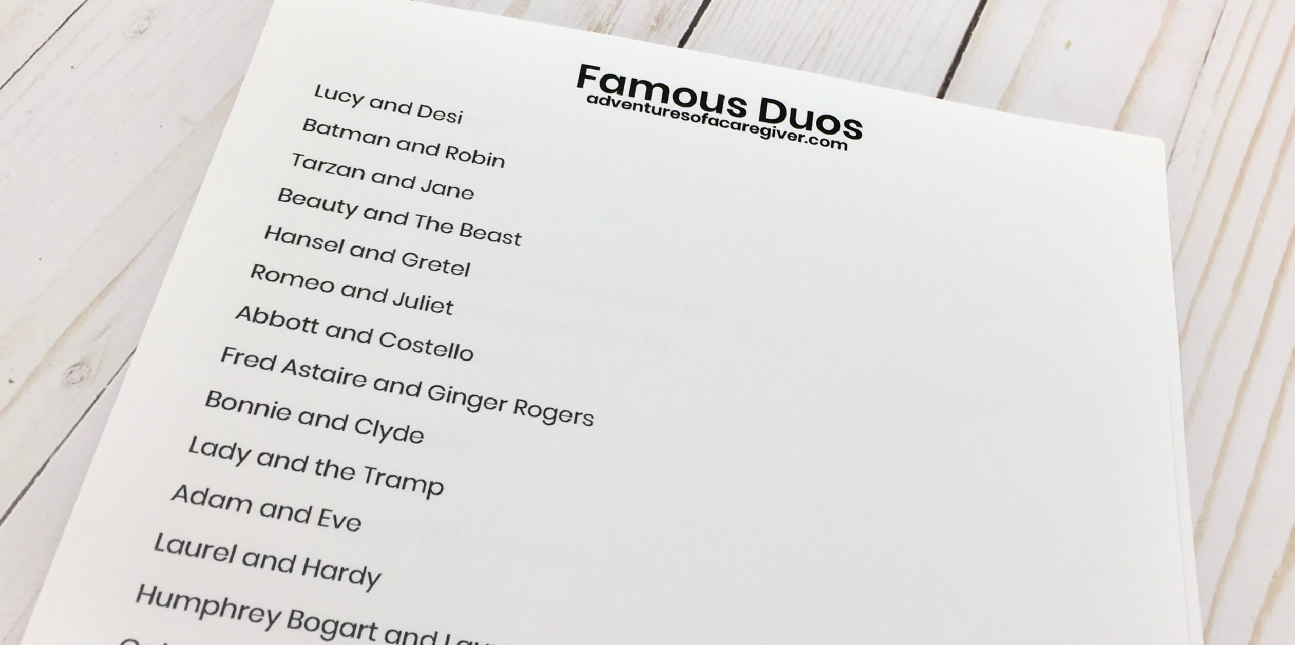 Famous Duos activity created for Alzheimer's and dementia patients