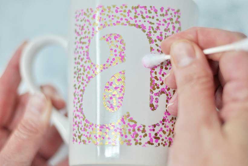 DIY Sharpie Mug Craft Clean-up with Q-tip