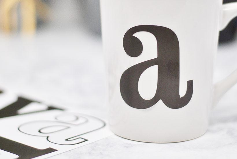 DIY Sharpie Mug Craft - letter-placement