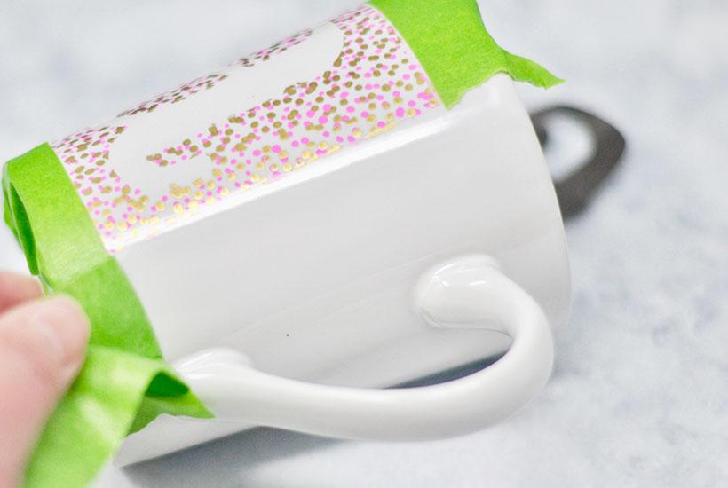 DIY Sharpie Mug Craft - removing tape