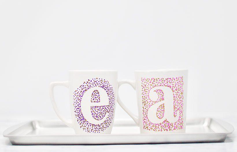 DIY Sharpie Mug Craft - mugs on cookie sheet, ready to bake