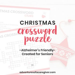 Easy Christmas crossword puzzle created for seniors with Alzheimer's and dementia.