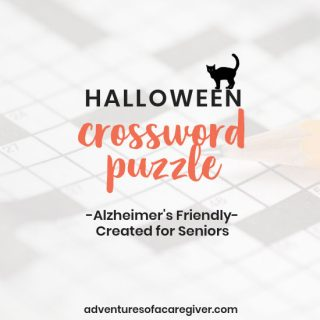 Easy Halloween crossword puzzle created for seniors. Alzheimer's and dementia activity.