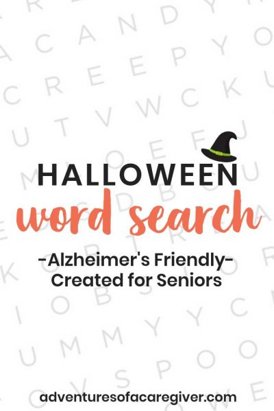 Halloween Word Search printable for seniors living with Alzheimer's and dementia