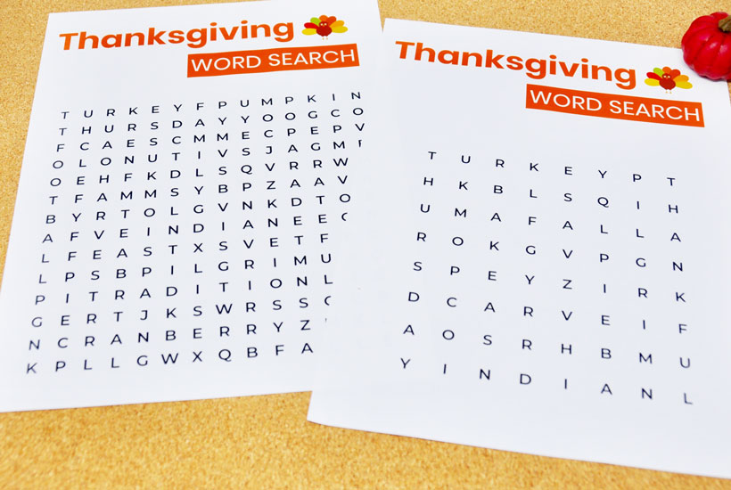 Easy Thanksgiving Word Searches Dementia Activity