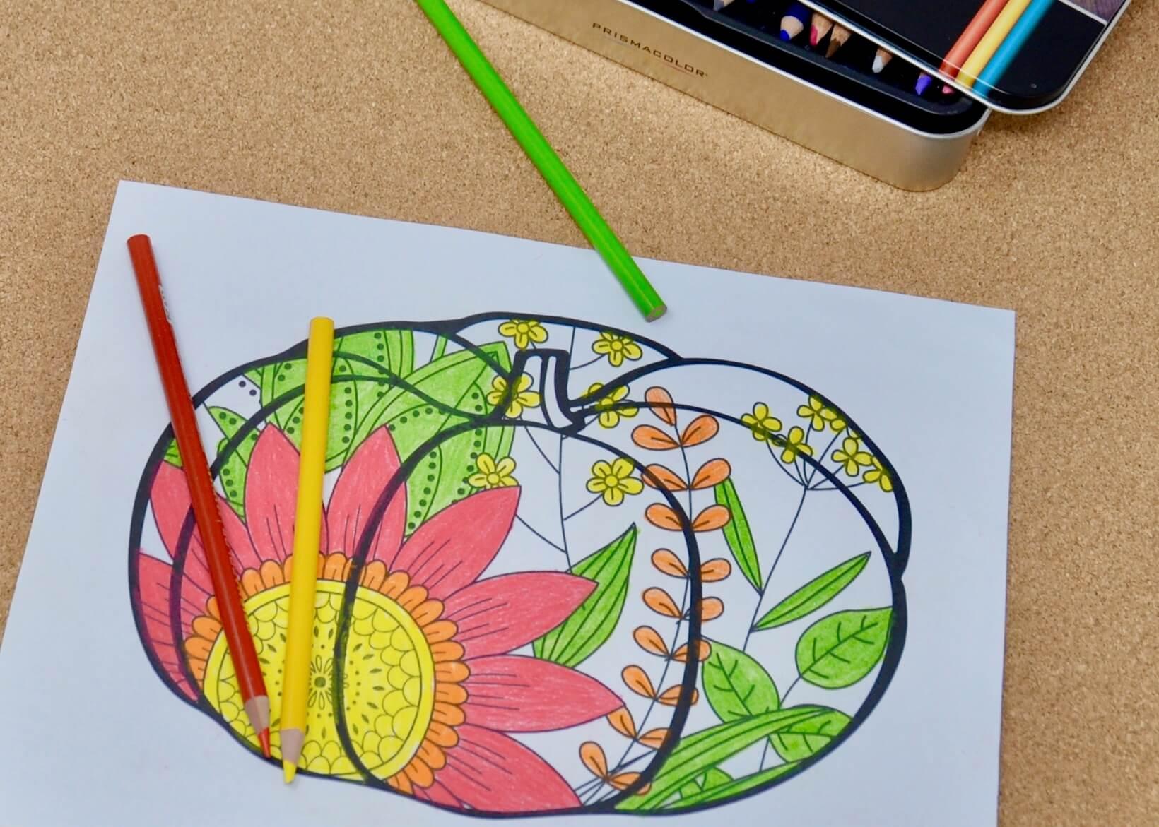 Simplified zentangle pumpkin colored by dementia patient.