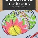 Simplified zentangle pumpkin coloring page for seniors living with dementia.