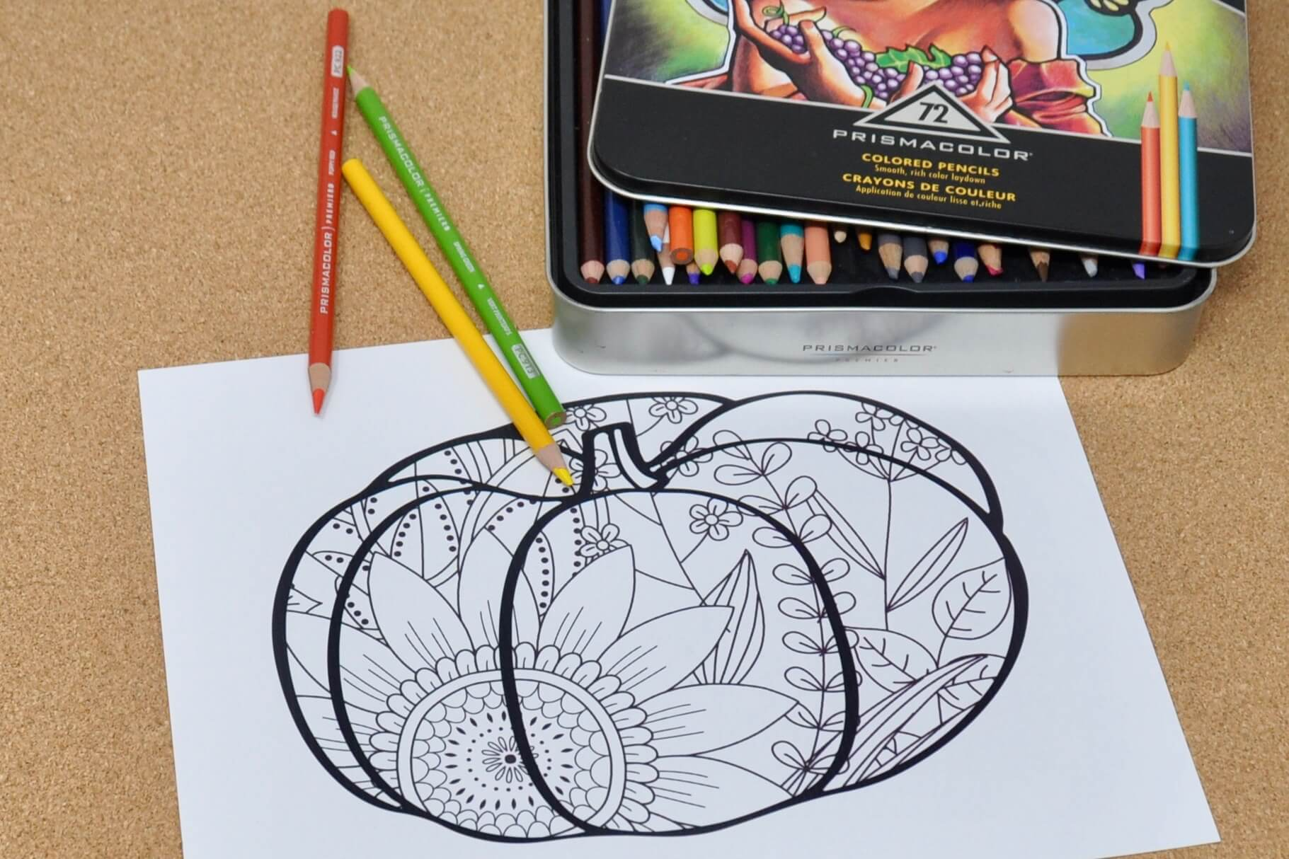 Fall pumpkin zentangle coloring page and colored pencils.