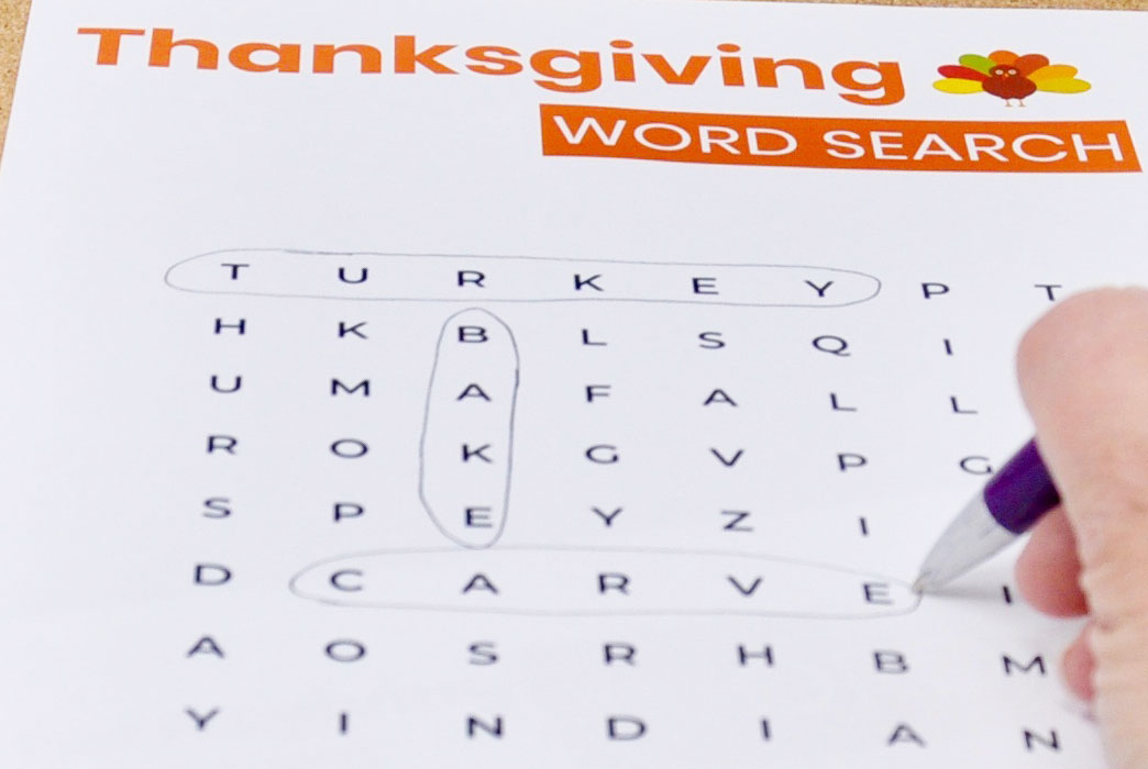Simplified Thanksgiving Word Search Dementia Activity