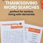 Thanksgiving Word Searches Dementia Activity