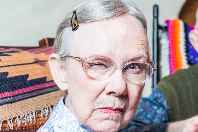 Angy elderly lady with dementia
