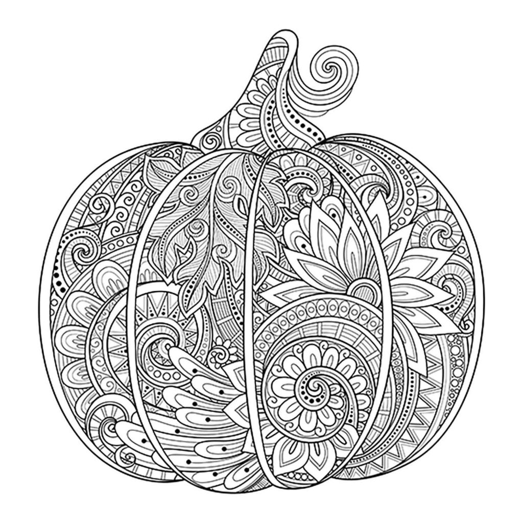 detailed zentangle pumpkin coloring page