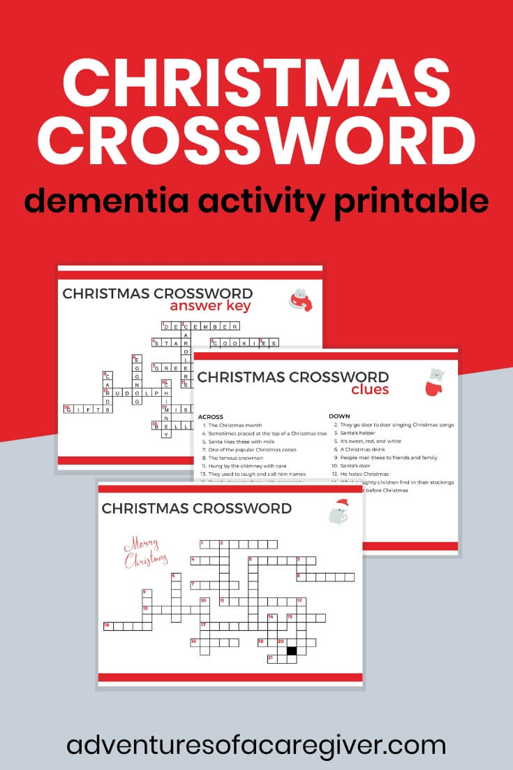 Christmas Crossword Dementia Activity Printable