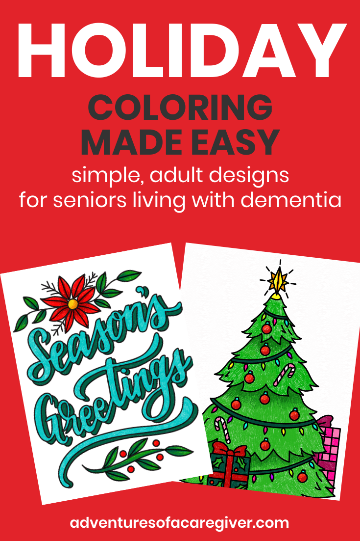 Easy holiday coloring pages dementia activity