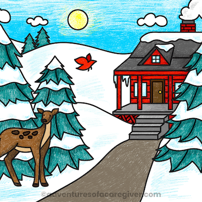 Winter coloring page dementia activity