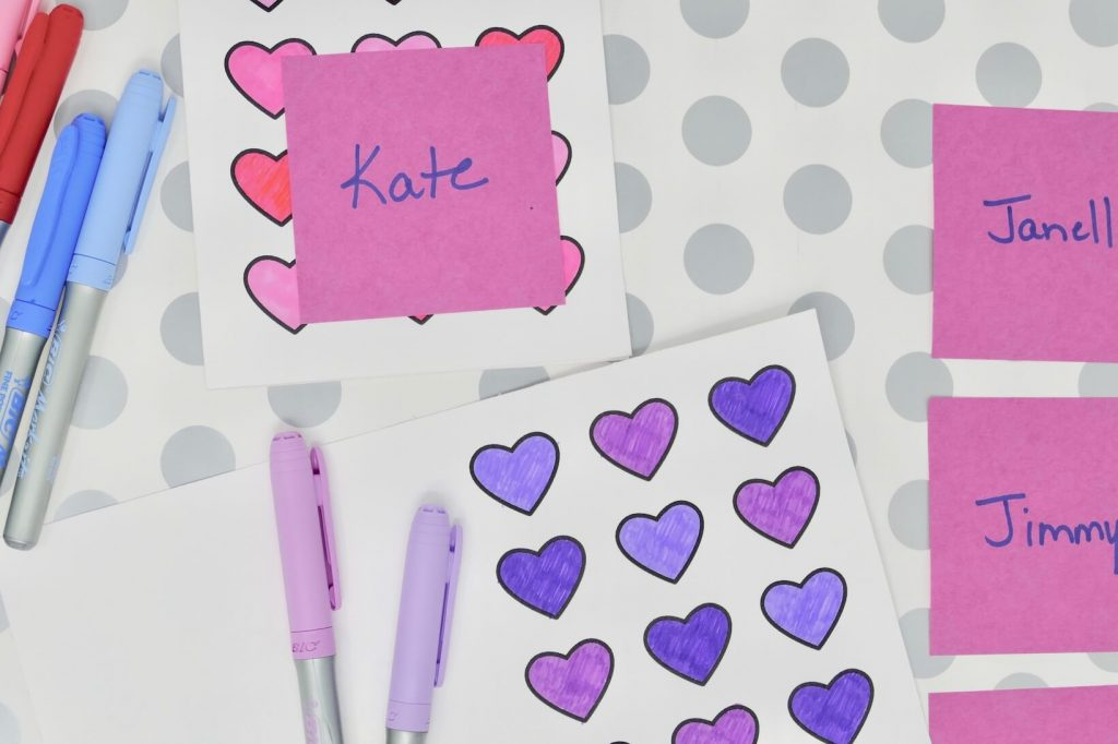 Dementia Activity Valentine Card Craft Name List