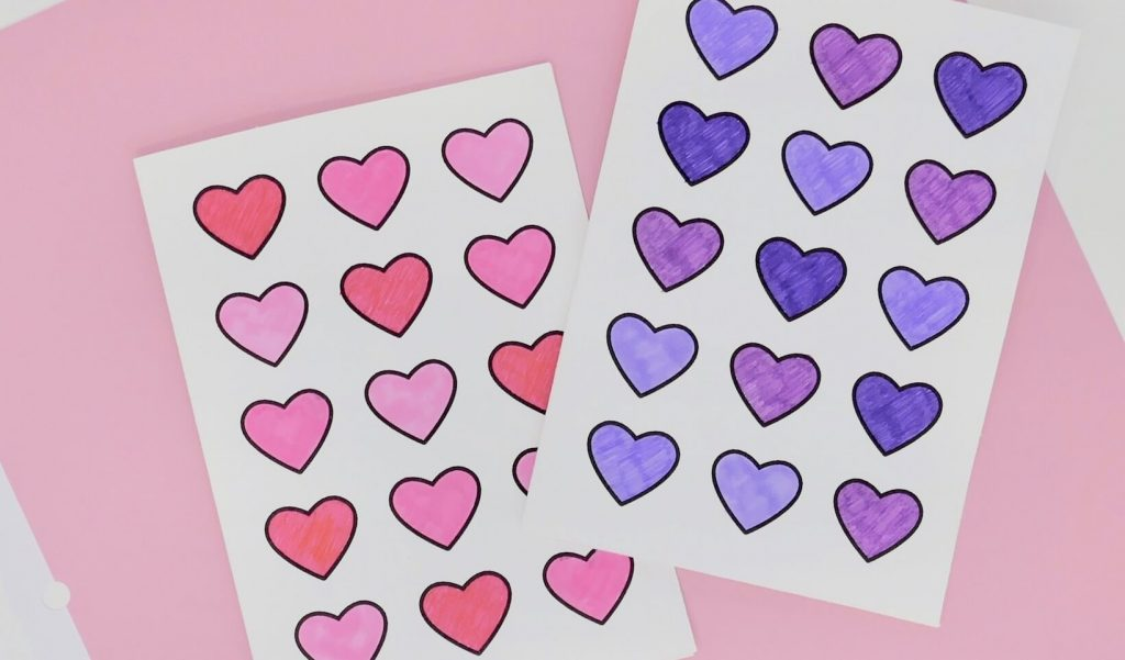 Dementia Activity Valentine Card Craft Purple and Pink