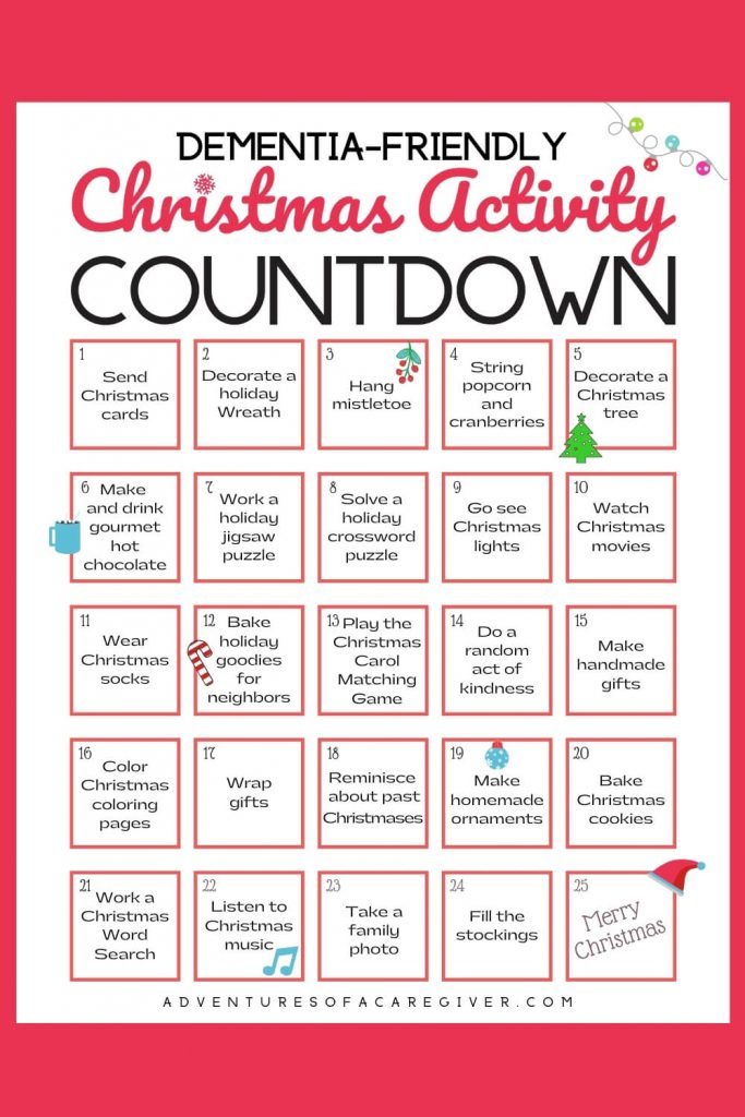 Christmas Activity Countdown Senior-Friendly