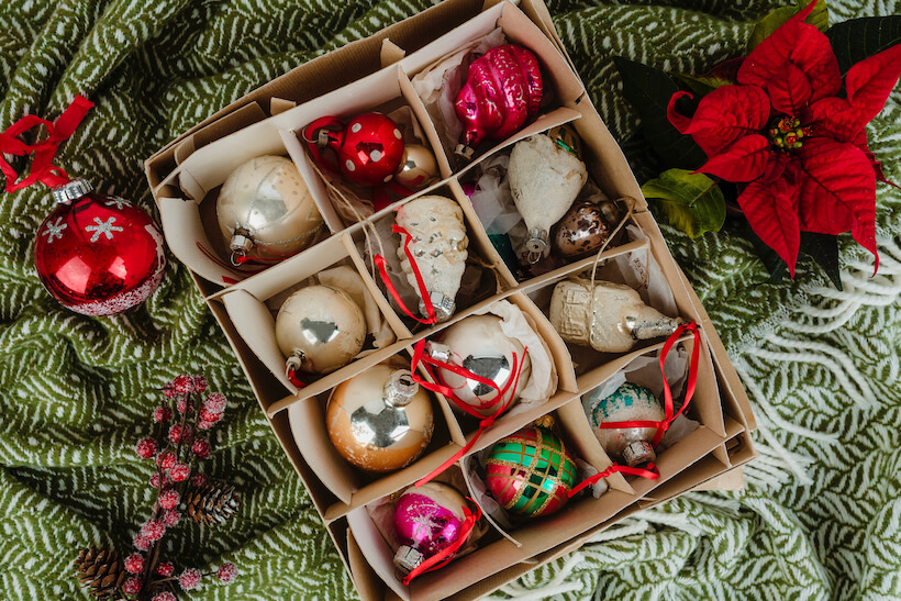 Box of Christmas ornaments for tree decorating dementia activity