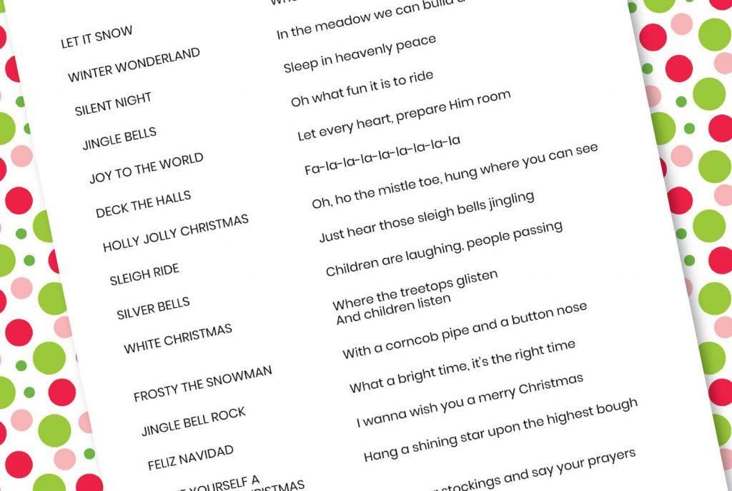 Christmas Carol Matching Game List