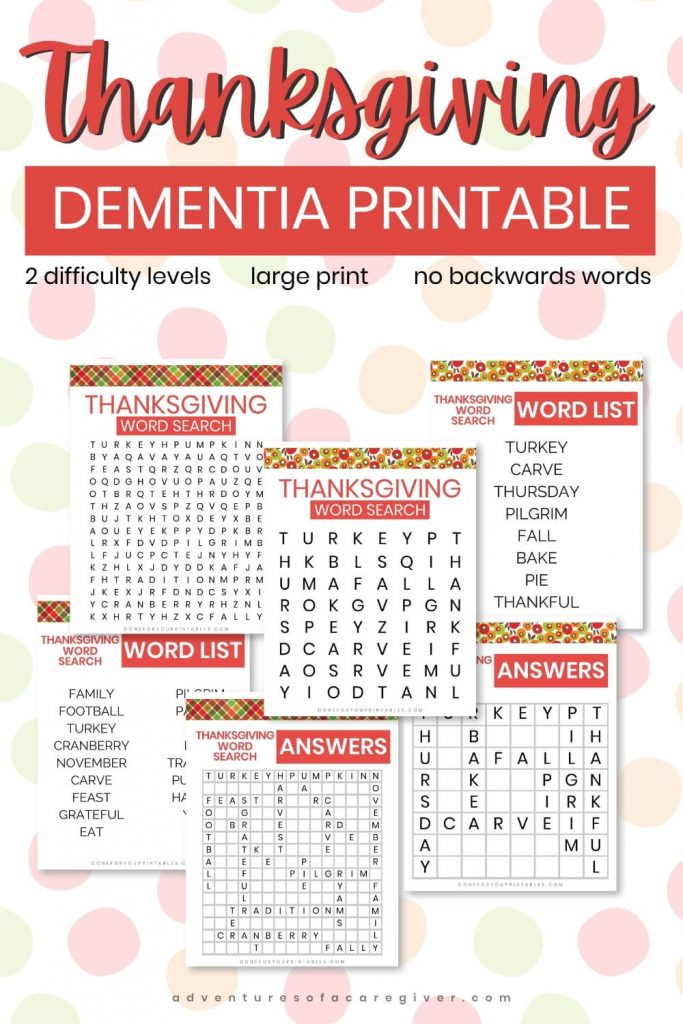 Thanksgiving Dementia Activity Printable