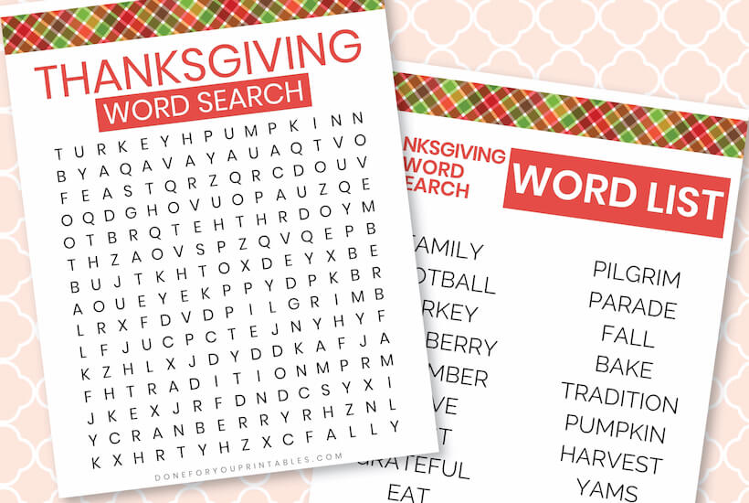 Thanksgiving Word Search Easy
