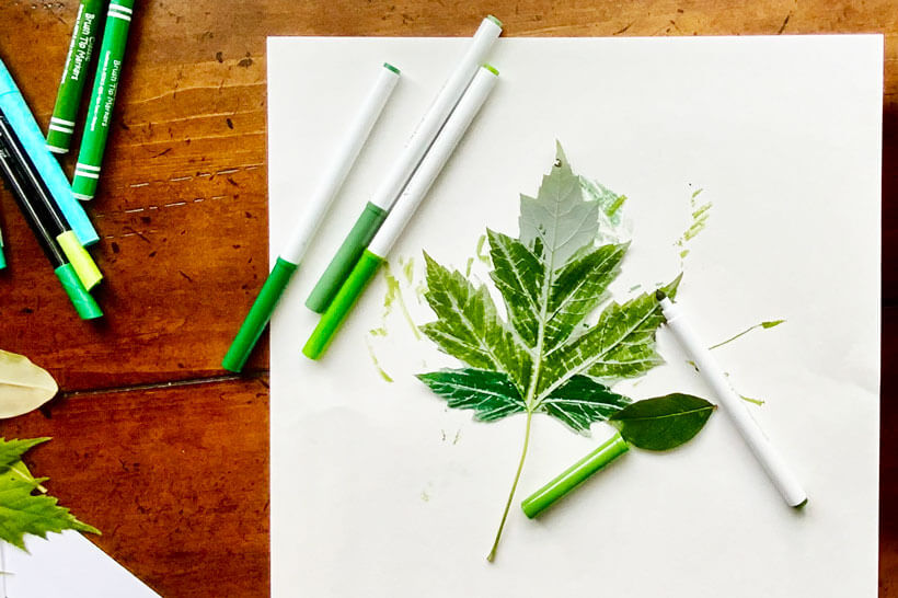 Coloing leaf with markers for leaf print dementia craft-