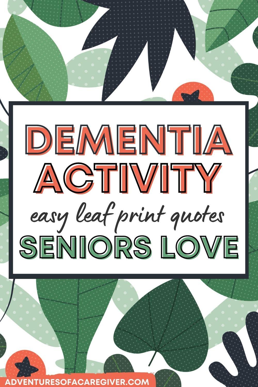 Leaf print dementia craft activity for seniors - pin