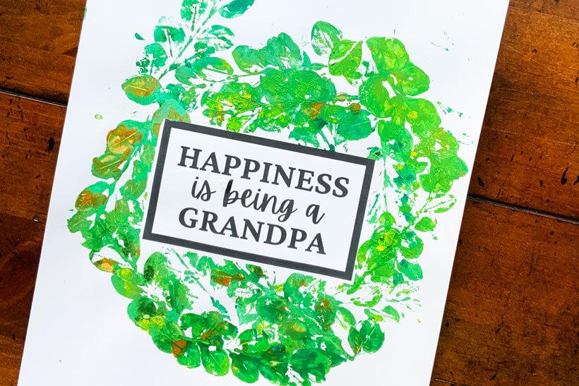 Leaf print grandpa quote dementia craft