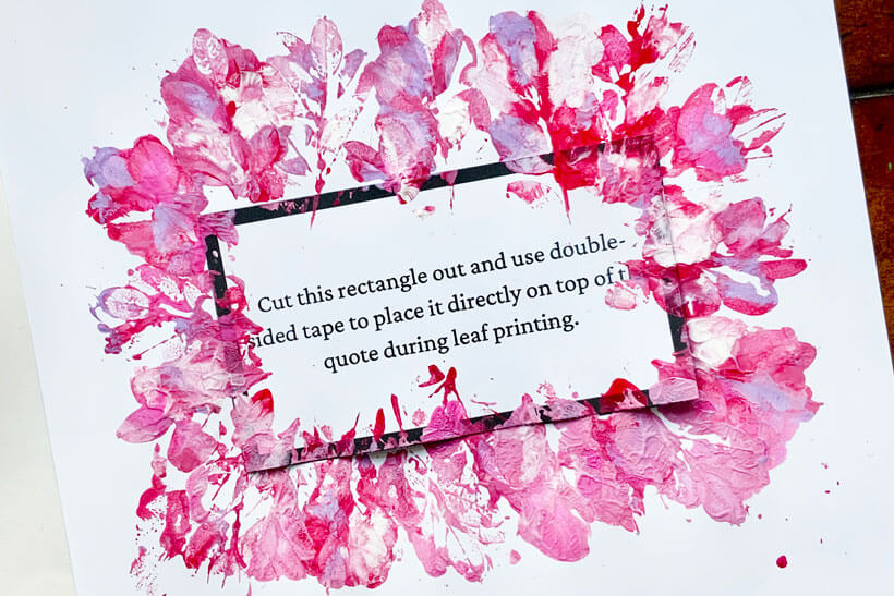 Leaf print quote for dementia activity painted